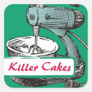 Custom colour retro stand mixer baking bakery square sticker