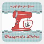 Custom colour retro stand mixer baking gift label square sticker