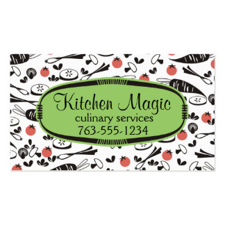 Custom colour retro vegetables cooking chef card business card