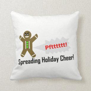 Custom Colour Reversible Gingerbread Man Christmas Throw Pillow