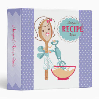 Custom colour spoon girl cooking recipe binder