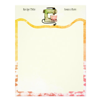 Custom colour stand mixer baking recipe letterhead