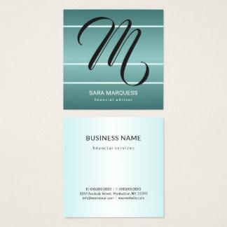 Custom Colour Teal Blue Metallic Stripes Monogram Square Business Card