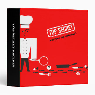 Custom colour top secret detective spy chef recipe 3 ring binder