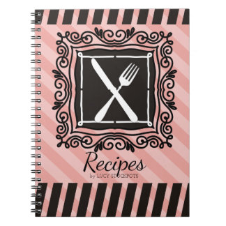 Custom colour utensils emblem French chef catering Notebook