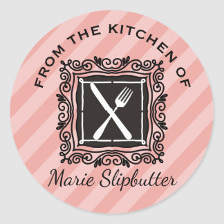 Custom colour utensils emblem French chef catering Round Sticker