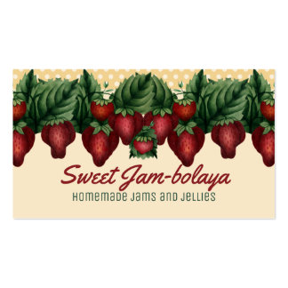 Custom colour vintage strawberries polka dots card business card
