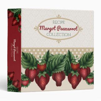Custom colour vintage strawberries recipe cookbook 3 ring binders