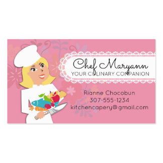 Custom colour woman chef blonde culinary catering business card