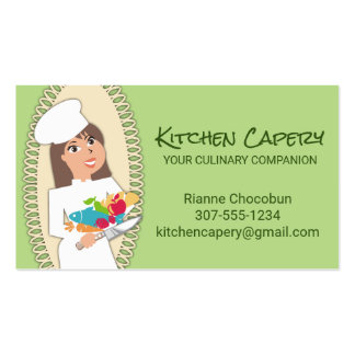 Custom colour woman chef brunette culinary business card