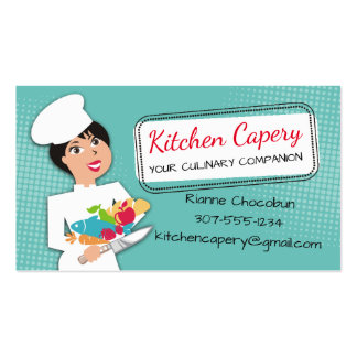 Custom colour woman chef culinary catering business card