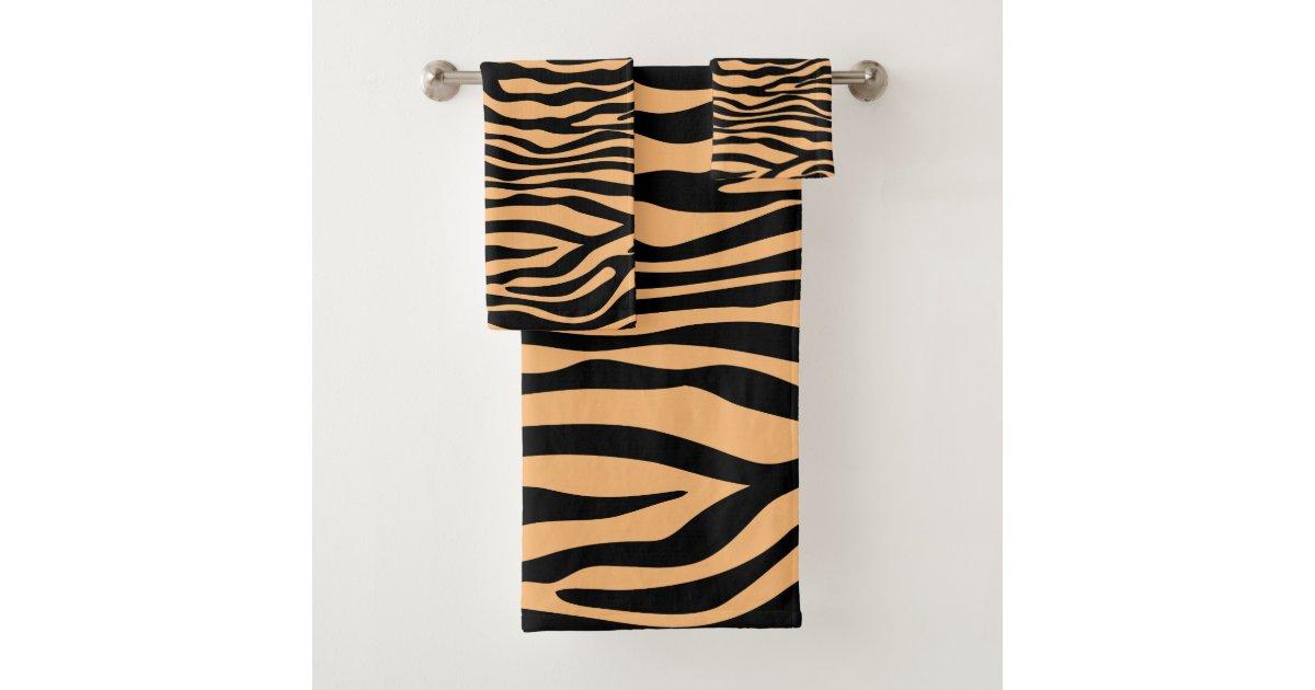 Custom colour zebra animal print bathroom decor bath towel ...