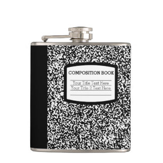 Custom Composition Book Black/White School/Teacher Hip Flask