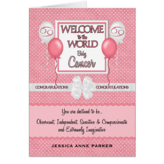 Custom Congratulations New Baby Girl Cancer Card