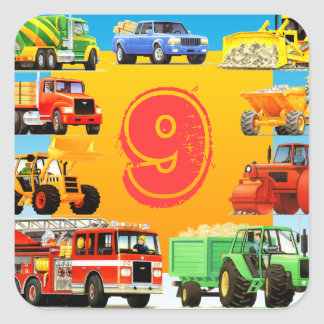 Custom Construction Truck 9th Birthday Party Square Sticker