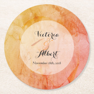 Custom Contemplation Wedding Coaster Orange
