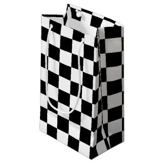 Custom Cool Formula 1 Checkered Flags Pattern Small Gift Bag