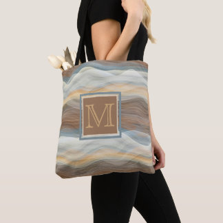 Custom Cool Retro Abstract Artistic Waves Pattern Tote Bag