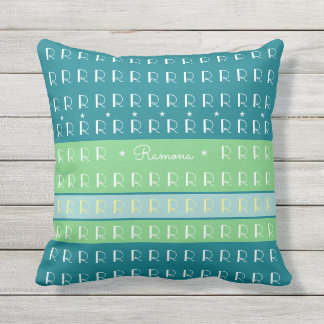custom cool typography with pastel color stripes throw pillow