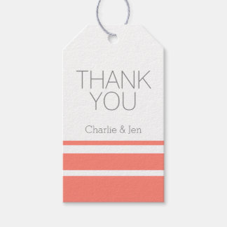 Custom Coral and Grey Thank You Pack Of Gift Tags