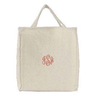 Custom Coral Monogram Embroidered Bag