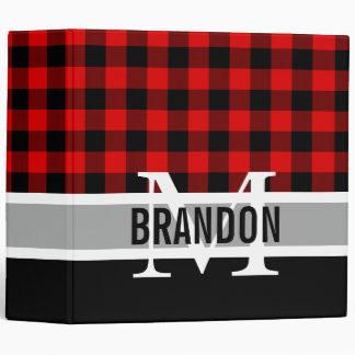 Custom Cozy Red Black Buffalo Check Plaid Pattern Binder