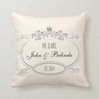 Custom Cream vintage retro frame Wedding Pillow