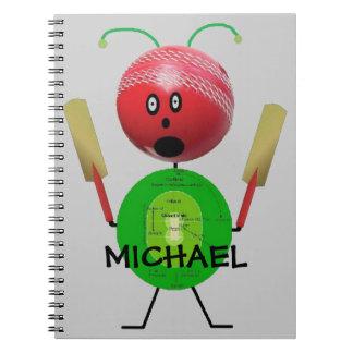 Custom Cricket Cartoon Notebook