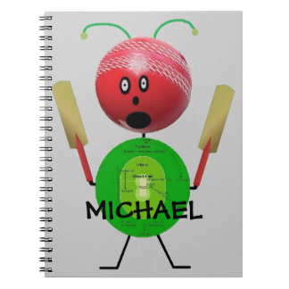 Custom Cricket Cartoon Notebooks