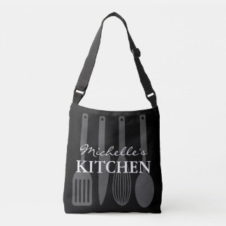 Custom cross body bag with kitchen utensils design