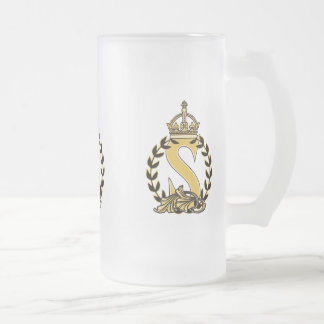 Custom Crown Monogram - S Frosted Glass Beer Mug