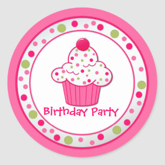 Custom Cupcake Birthday Party Sticker