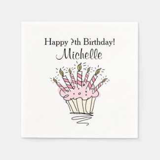 Custom cupcake with candles Birthday party napkins