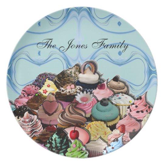 Custom Cupcakes Design (Blue) Plate