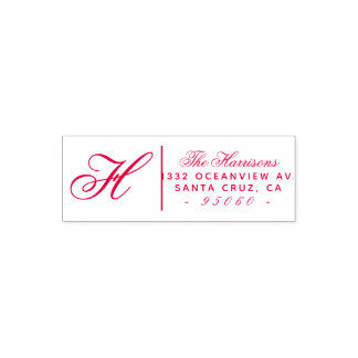 Custom Cursive Script Family Name Return Address Self-inking Stamp
