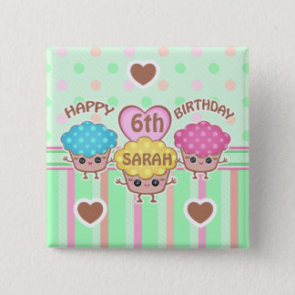 Custom Cute Birthday Girl Kawaii Cupcakes Button