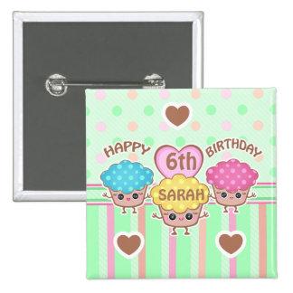 Custom Cute Birthday Girl Kawaii Cupcakes Button