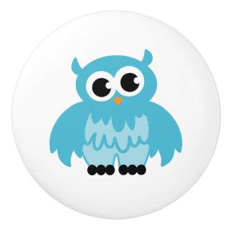Custom cute blue owl nursery door and drawer knobs