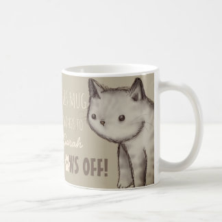 Custom Cute Cat Illustration Paws Off Coffee Mug