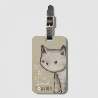 Custom Cute Cat Illustration Paws Off Luggage Tag