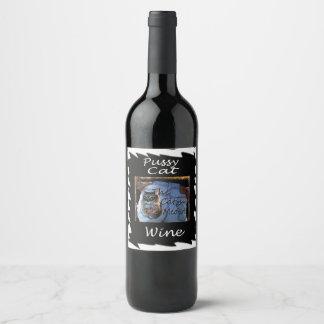 Custom cute cat wine bottle label