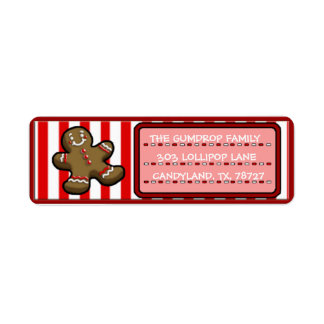Custom Cute Christmas Gingerbread Return Labels
