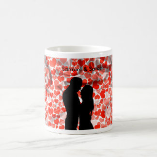 Custom Cute Couple Silhouette Hearts Anniversary Coffee Mug