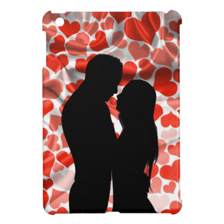Custom Cute Couple Silhouette Hearts Anniversary iPad Mini Covers