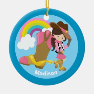 Custom Cute Cowgirl Ceramic Ornament