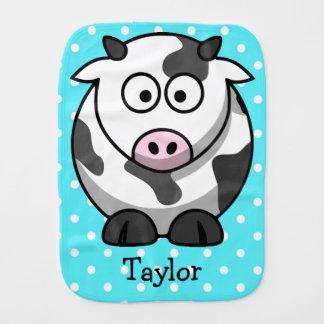 Custom Cute Funny Cartoon Cow Burp Cloth