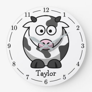Custom Cute Funny Cartoon Cow Large Clock