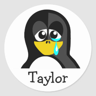 Custom Cute Funny Cartoon Crying Penguin Classic Round Sticker
