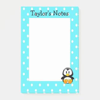 Custom Cute Funny Cartoon Penguin Polka Dot Post-it Notes