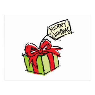 Custom Cute  Gift Box with Merry Christmas Tag Postcard